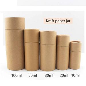 50pcs / lot Botella cosmética Embalaje externo Tubo de papel Kraft Tubo Cilíndrico Cajas de cartón duro Paquete de tubo de aceites esenciales