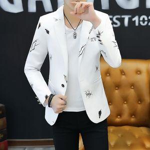 2019 Jeunesse Slim blazer homme Mode Casual Printemps Print Blazer