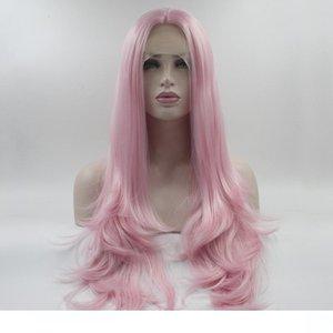 Sintetico H Lace Front Wigs Colore rosa dei capelli della fibra con il bambino dei capelli di Glueless di calore Reistant Glueless lungo rettilineo rosa sintetico Lacefront