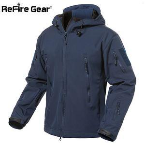 Giacca refire ingranaggi Navy Blue Soft Shell militare Uomini impermeabile Army Tactical cappotto del rivestimento inverno caldo pile con cappuccio Windbreaker LY191209