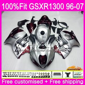 Injecção Para SUZUKI Hayabusa GSXR1300 GSXR 1300 96 97 98 99 00 01 07 22HM.0 GSX R1300 1996 1997 1998 1999 2000 2001 Carenagem Hot silver red