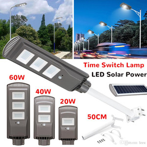 20/40 / 60W Panneau à énergie solaire LED Solar Street Light All-In-1 Time Switch Switch Etanche IP67 Lampe d'éclairage mural pour jardin extérieur
