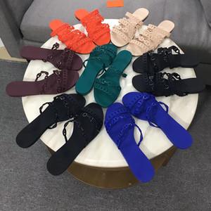 Diseñador de moda 2019 Sandalias Con Chaine d'Ancre Sandalias para mujer Diapositivas Chanclas planas Zapatillas de boda para bodas con caja US 11
