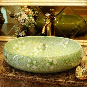 Зеленый застекленные цветок фарфора тщета ванной раковина чаша столешницы Овальный ванной раковина умывальник