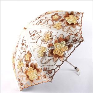 Deux fois parapluie dentelle pliant crème solaire Designer parapluie en plein air antipluie de mariage demoiselle d'honneur mariée parapluie livraison gratuite