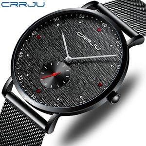 Relogio Masculino CRRJU Nuovo Men Watch Luxury Business impermeabile Slim Mesh quarzo Moda Militare Sport Maschio Clock