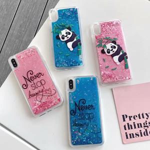 Étincelle Bling Liquid Case Pour Iphone XR XS MAX 8 7 6 Souple TPU Flamingo Glace Panada Dynamique Quicksand Flottante Couverture de Téléphone Glitter