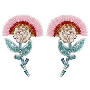 Exquisite DIY Beaded Sequined Flower Patches for Clothes Sewing on Applique for Jackets Jeans Bags Shoes Craft 1pairs