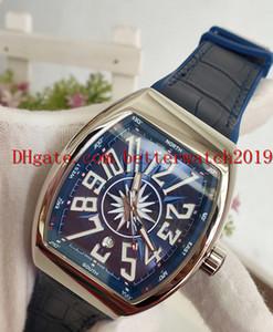 Neue hochwertige Herren Sportuhren Kollektion Vanguard V 45 SC DT YACHTING Blaues Datumszifferblatt Automatische Herrenuhr Silbriges Lederarmband