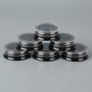 Novos frascos de cosméticos pretos redondos 3G com tampas de tampa de parafuso claras para sombra em pó Mineralizados de maquiagem amostras de cosméticos BPA livre