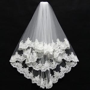 Kısa 2 Katmanlı Yüksek Kalite Toptan düğün veils Dantel Kenar düğün aksesuarları gelin peçe velos de novia