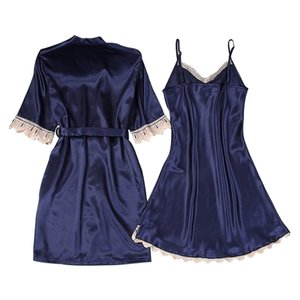 2019 Fashion New Women Sexy Lace Satin Nightgown + Bathrobe Pajamas Sets Half Sleeve Sleepwear Lounge Set Female Nightdress