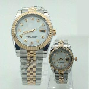 Lüks Saatler Severler Kadın Erkek Kuvars İzle Ünlü Tasarımcı Elmas Saatler Paslanmaz Çelik Otomatik Tarih Çift Saatı Montre