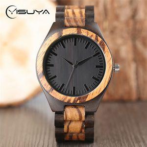 Relógios de madeira YISUYA luxo para presentes Madeira Banda Homens Analog Vintage Quartz Handmade Walnut Bamboo Relógio de pulso Relógio reloj hombre