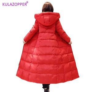 Kulazopper Plus Size Down Casacos Mulheres 2019 Inverno Novo Platinum White Duck Down Long Woman Slim Capuz Do Línco Luz026