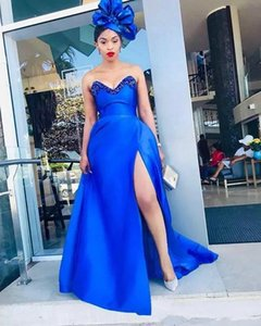 2020 Elegant A Line Prom Dresses Royal Blue Strapless Floor Length Sexy High Split Formal Evening Gowns Plus Size Special Occasion Dresses