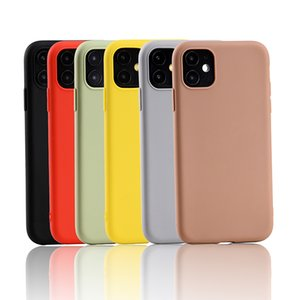 Yellow Candy TPU Phone Case for Iphone 11 7 6 case Solid Scrub Silicon Case for IPhone 6 6S 8 plus X protection Back Cover coque