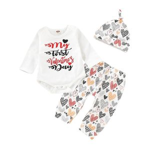Valentine's Day infant baby girls full sleeve letter bodysuits+love print pants+hat newborn girls clothing set 3pcs 0-18M