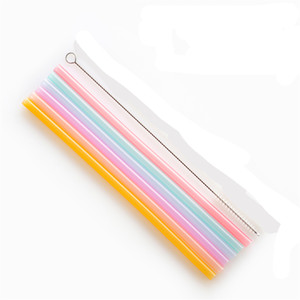 Reusable Silicone Straws Food Grade Silicone Flexible Bent Straight Drinking Straws With Cleaner Brush Party Bar Accessory JK2005