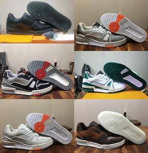 2020 новый тренер кроссовки intage баскетбол кроссовки Virgil Abloh Аллигатор тиснением черный серый белый зеленый телячья кожа французский дизайнер обувь