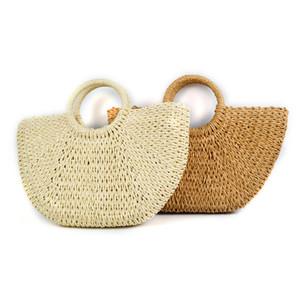 Designer Mão Woven Straw Totes Bag Beach Party Travel Bag Rodada em forma de lua grandes sacos Bucket Verão Mulheres Natural Handbag