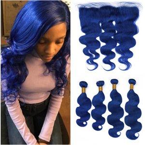 Пучки переплетения человеческих волос малайзийской синей объемной волны с фронтальной темно-синей волнистой девственницей человеческие волосы 4 пучки с 13x4 кружева фронтальной закрытием