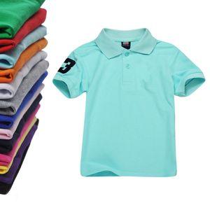 Atacado! Polo Crianças t shirt das crianças lapela manga curta meninos camiseta Tops Vestuário Marcas camisas de algodão T Cor T Meninas Sólidos