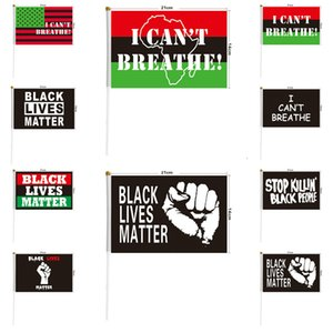 I Can't Breathe Flag BLACK LIVES MATTER Letter Printed Handheld American Banner Flag 9 Styles Party SuppliesT2I51057