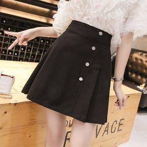 Women's skirt 2020 summer new pleated skirt Han Fan fresh high waist A word half body slim wash cotton