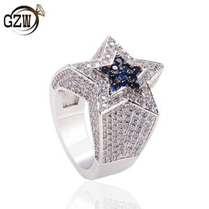 New Fashion personalized Bling Bule Diamond Pentagram Star Mens Finger Band Ring Hip Hop Rapper Iced Out Jewelry Gifts for Guys Wholesale