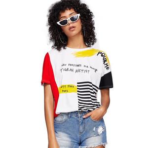 Lettre Imprimé Rayé Brosse Tee 2019 Graphique Posh Streetwear D'été Tees Femmes Chic Col Rond À Manches Courtes T-shirt