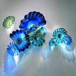 Mano Made Blown Glass Art Plate Art Modern Blue Teal Color Color Murano Vetro Astratto Art Pianta Appeso Piatti Applegati Lampade da parete personalizzate Dimensioni del colore personalizzate
