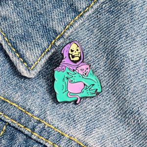Viola Male scheletro dello smalto spilla Spilla Rosa Cool Cat Pins per il regalo Zaini Distintivo gioielli per Amici