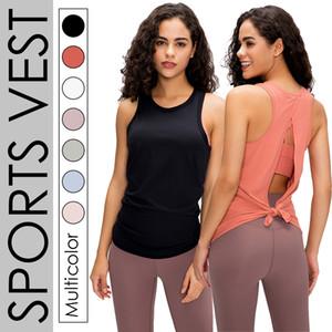 Nuevo Color sólido Correa deporte chaleco mujeres sin mangas seco suelto transpirable belleza espalda sudadera Nude Feel Yoga traje