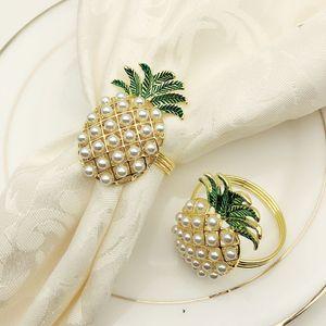 6Pcs Cute Napkin Rings Pineapple Shape Pearl Beaded Shining Gold Christening Bangle Metal Wedding Gift Party Supplies