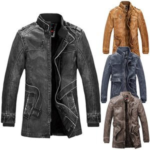 패션 남성 가을 겨울 야외 캠핑 하이킹 포켓 버튼 열 가죽 자켓 최고 코트