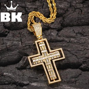 THE BLING KING Rotating Cross Pendant Necklace Hip Hop Full Iced Out Cubic Zirconia gold sliver CZ Stone