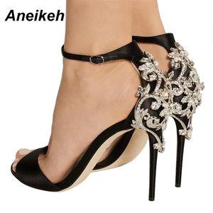 Aneikeh Strass Stiletto-Dame Sexy Kristall dünne Ferse Sandale Frau Knöchelriemen Brautkleid Schuhe Pumps Big Shoe 40 41 42