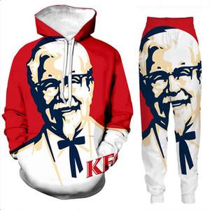 Новые Мужчины / Женская KFC Полковник Забавный 3D печати Мода Спортивные костюмы Hip Hop Брюки + Толстовки TZ02