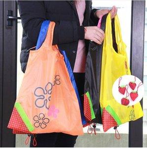 Saco De Armazenamento De Eco Morango Dobrável Sacos de Compras Reutilizável Dobrável Saco De Nylon De Supermercado Grande Capacidade Home Tote Bolsa