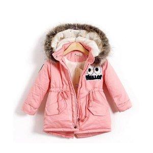 Herbst-Winter-Kind-Mädchen-warme dicke Jacken mit Pelzmütze Kinder Parka 90% Baumwolle Füllung Mädchen im Freien Mantel 2-8 Jahre