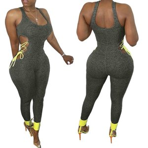 Hollow Out Lace-up Jumpsuit Rompers Trousers 2020 Sexy Women Sleeveless Sports Causal Summer Pants Jumpsuit Pure Color