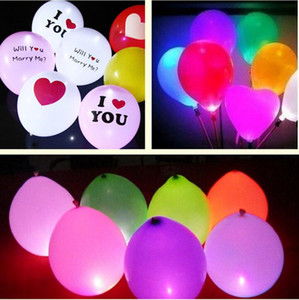 I Love U LED Balloons 12inch ballons 어두운 하늘에서 빛이납니다. 깜박이는 하트 키스가 나와 결혼 해요. 생일 파티 할로윈 장식