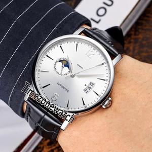 Patrimonium Moon Phase Miyota 8217 Automatik Herren-Uhr-Stahl-Gehäuse Silber Dial Number Stock-Marker-Schwarz-Leder Uhren Timezonewatch E51b2