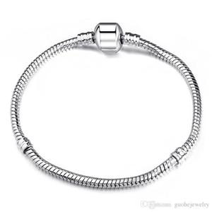 3mm 17-21 cm 925 Silber Überzogene Armband Kette Schlangenkette mit Barrel Fit Europäischen Perlen Armbänder Mit Ohne Logo DIY