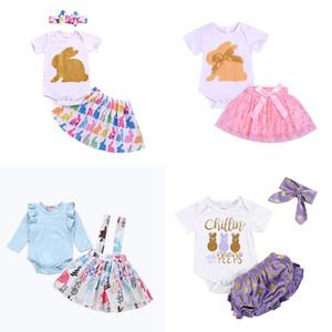 Meninas vestuário Páscoa Define letra impressa de manga curta Tops Tutu calças curtas Conjuntos Crianças roupa ocasional das meninas do bebê de Easter Outfits 07