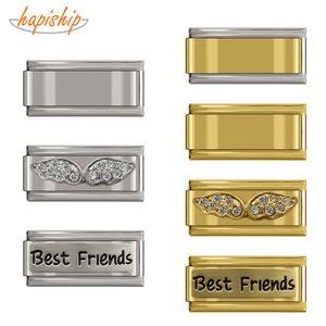 Cheap Charms Hapiship Stainless Steel Bracelet 9mm Italian Charm Women Best Friend Angle Wing Mum Daughter Bangles Babgle Accessories DJ096
