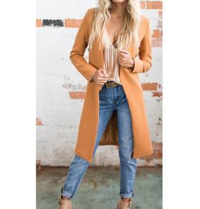 2019 Moda Chaquetas nuevas Mujeres Office Lady Outwear Winter Warm Long Windbreaker Parka Coat Outwears Cardigan Jacket