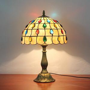Europea habitación bar restaurante lámpara de mesa de grano de la lámpara de noche mostrador interruptor de las luces de línea retro Tiffany lámparas de mesa de cristal DS052