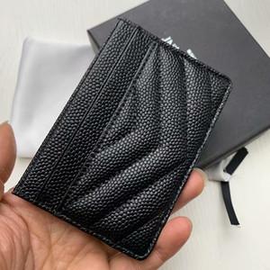 Kart çantaları Unisex Gerçek Deri Kart Sahibi Erkekler Kadınlar Moda siyah Kılıf Gerçek havyar Deri Kredi Kartı Tutucu Küçük Çanta Cüzdan